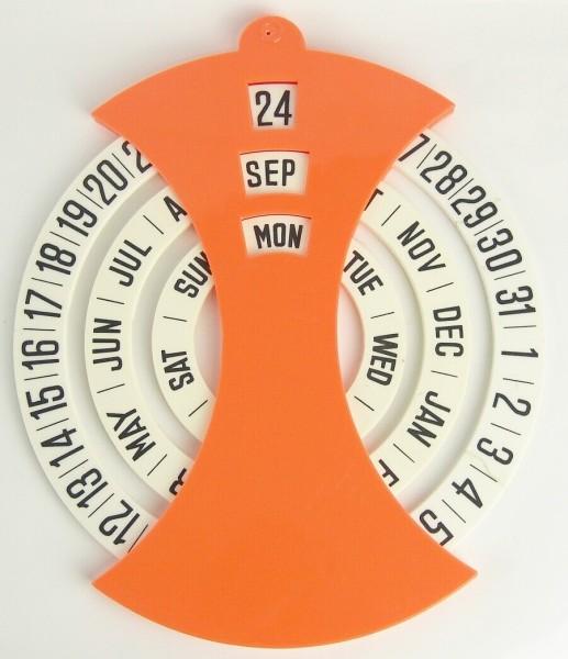 70er Jahre Ewiger Kalender - Orange / Weiß - Drehscheiben