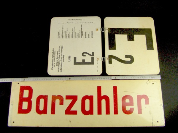 Alte Schilder - Bus - Bahn - BARZAHLER - Sichtkarten Umsteiger