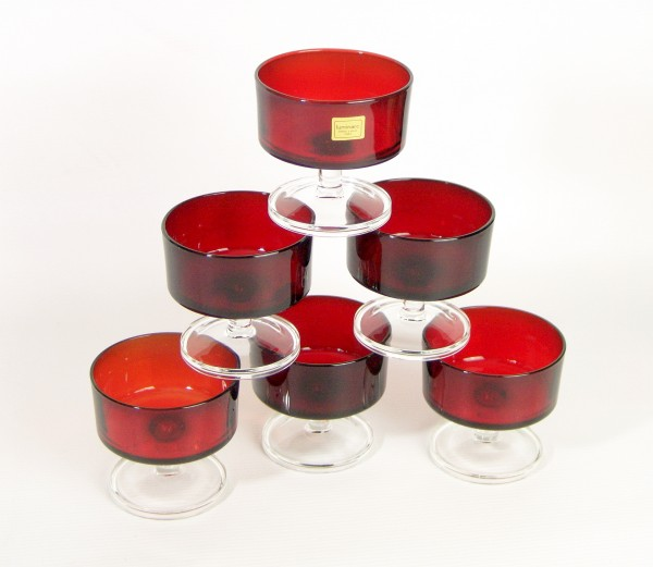 6er Set - 60er Jahre LUMINARC Gläser - rot - Dessert - Sektschalen