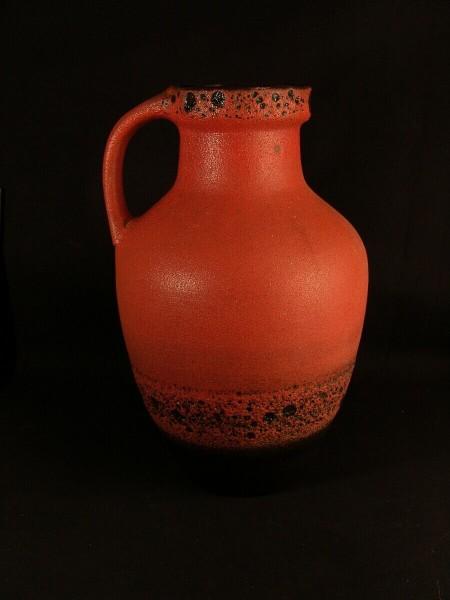 Carstens Keramik XXL Bodenvase - Bodenvase Lava - 60er Jahre rot schwarz