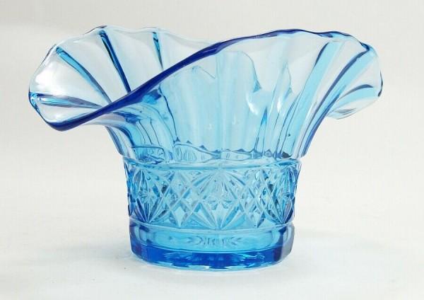 Pressglas Vase - Schale - Tafelaufsatz - blau