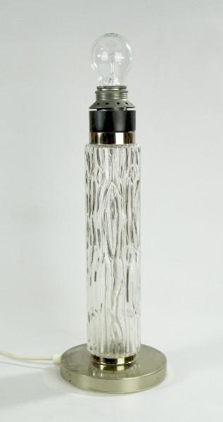 60er Jahre Tischlampe - Lampenfuss - Glas/Chrom/Grau