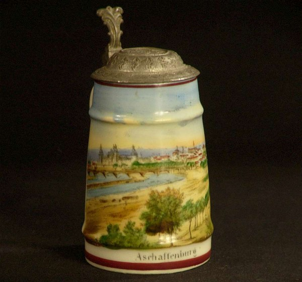 Antiker Mini Bierkrug - 10cm - Andenken - Aschaffenburg ~ 1910