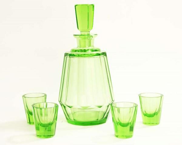Art Deco Glas Karaffe mit 4 Likörgläsern - Grün