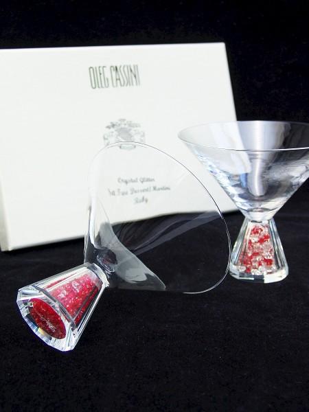 OLEG CASSINI Crystal Glitter Ruby / rot - 2 Martini / Dessertgläser - NEU+OVP