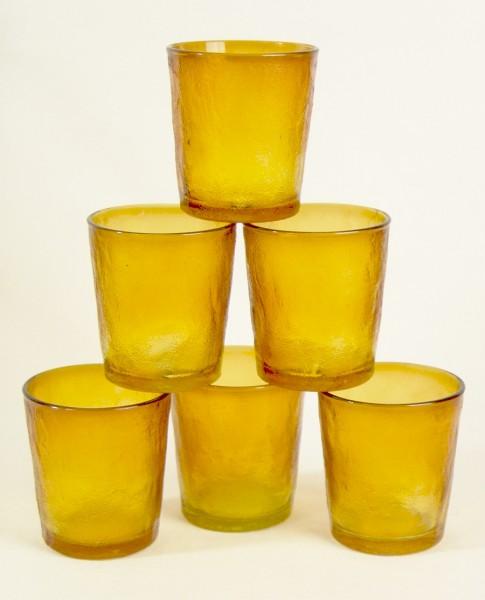 6 x Vintage Pressglas Becher / Gläser - Bernstein / Honigfarben