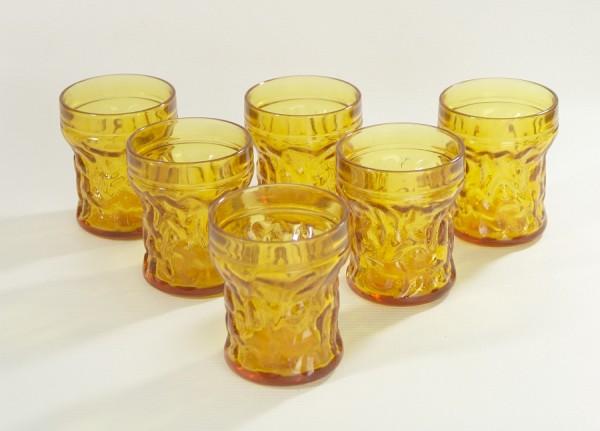 60er Jahre Pressglas - 6 Gläser Bernstein/Honigfarben - Saft - Limonade