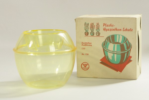 50er Jahre Hyazinthen Schale / Vase - Keil Plastic - gelb - OVP