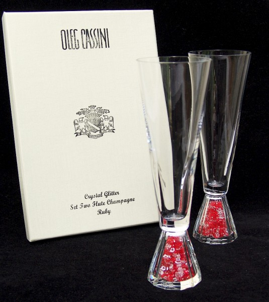 OLEG CASSINI Crystal Glitter Rot - 2 Sektgläser / Champagner - NEU+OVP