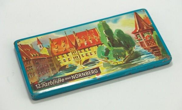 Blechdose um 1950 - 12 Farbstifte aus Nürnberg - Buntstifte