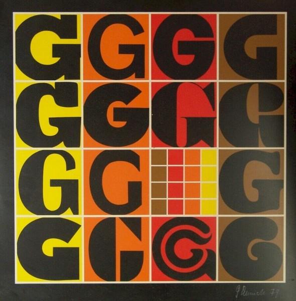 70er Jahre Pop Art Grafik - Original Signatur